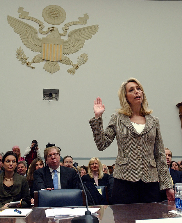 . Former CIA analyst Valerie Plame is sworn in on Capitol Hill in Washington, Friday, March 16, 2007, prior to testifying before the House Oversight and Government Reform Committee. (AP Photo/Dennis Cook)