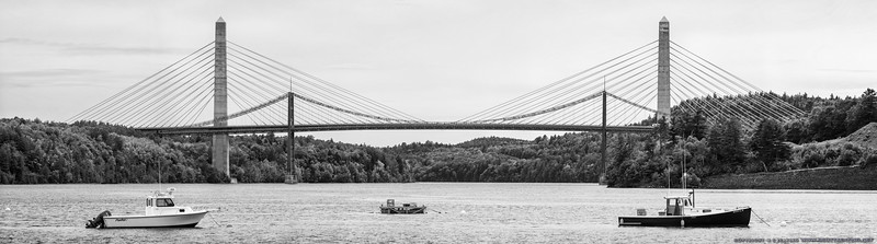 Penobscot Narrows Bridge and the older Waldo-Hancock Bridge - near Bucksport and Verona Island, Maine