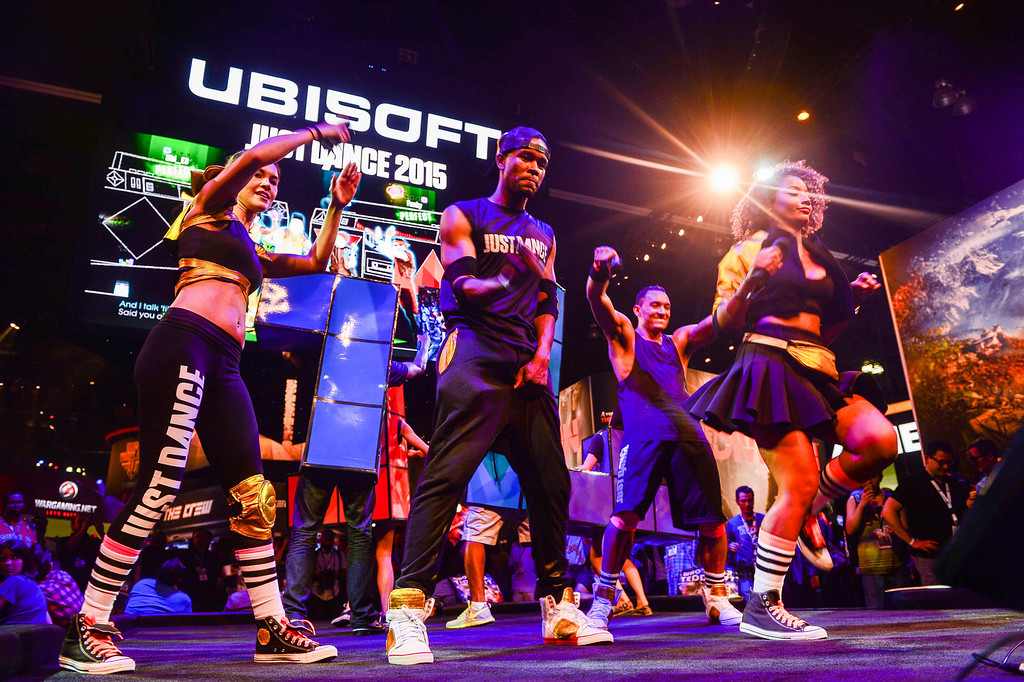 ". Dancers play the ""Just Dance 2015\"" at Electronic Entertainment Expo in Los Angeles on Tuesday, June 10, 2014. (Photo by Watchara Phomicinda)"