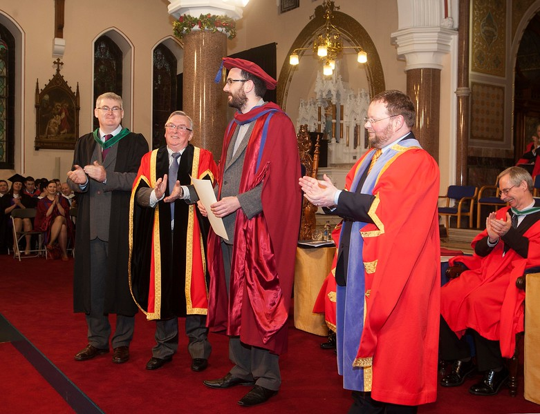 Pictured is Enda Coates, Newbridge, Co Kildare who was conferred a Doctor of Philosophy, also pictured is his supervisor Tom Kent, Dr Donie Ormonde, WIT Chairman and Dr. Derek O'Byrne, Registrar of WIT. Picture: Patrick Browne.