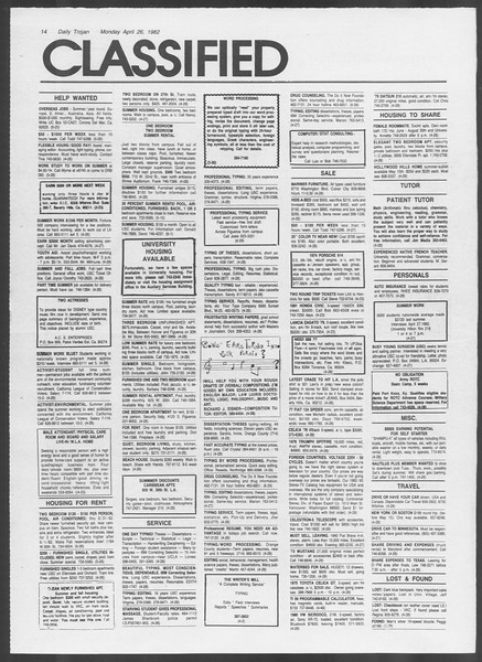 Daily Trojan, Vol. 91, No. 66, April 26, 1982