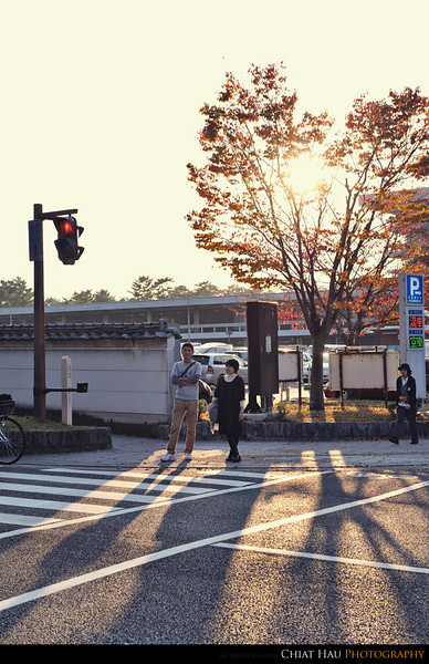 Walking out from Sanjodori - and some rim light for the ladies and gentle at the traffic light :)