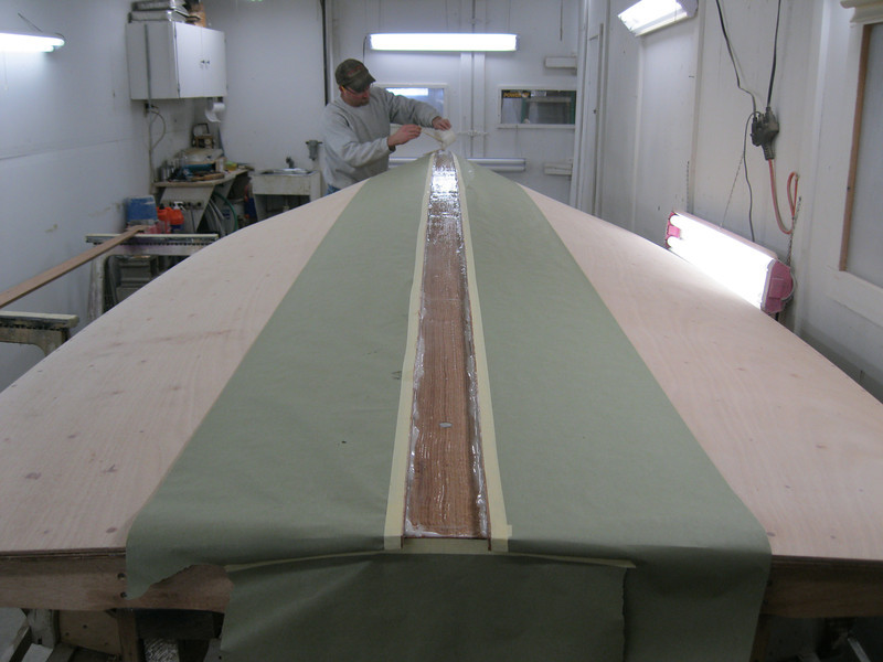 Rear view of epoxy applied for keel cap.