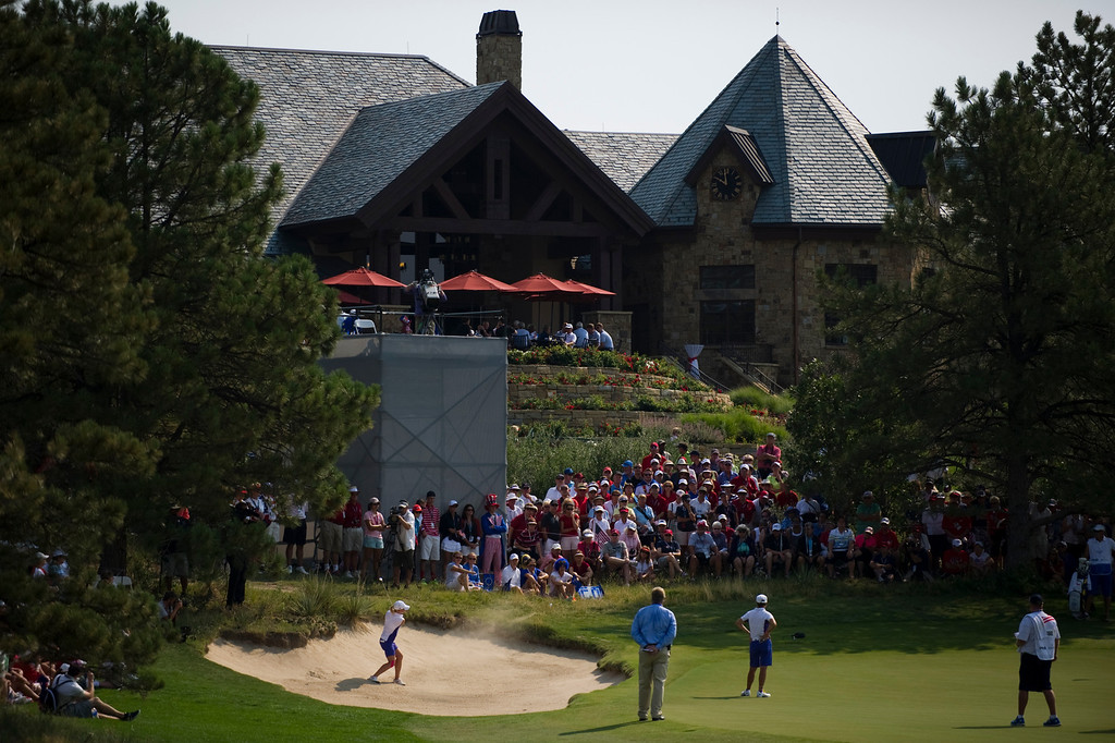 . PARKER, CO - AUGUST 16: European Jodi Ewart Shadoff hits out of the bunker on the ninth hole during the first day of the Solheim Cup at Colorado Golf Club, on August 16, 2013.  (Photo By Grant Hindsley/The Denver Post)