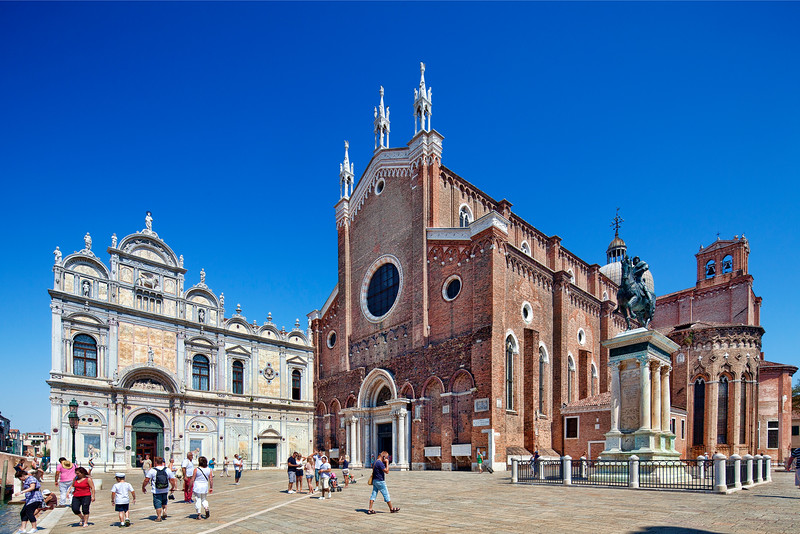 Hospital (left, in Renaissance style) and Basilica (right, in Gothic style) of San Giovanni e San Paolo, Castello, Venice, Italy