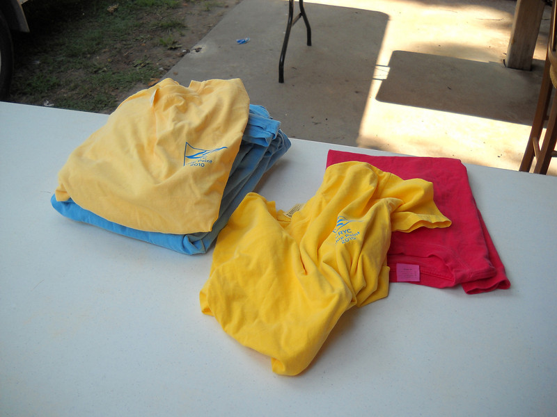 Finally, someone figured out how to not loose money on tee-shirts at the Annual Regatta... this was our inventory after the pre-regatta picnic.