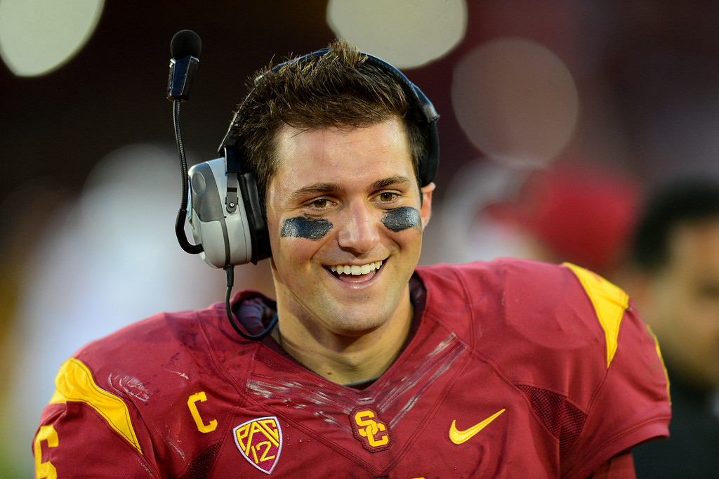 . USC QB Cody Kessler smiles on the sidelines late in the game, Saturday, August 30, 2014, at the L.A. Memorial Coliseum. (Photo by Michael Owen Baker/Los Angeles Daily News)