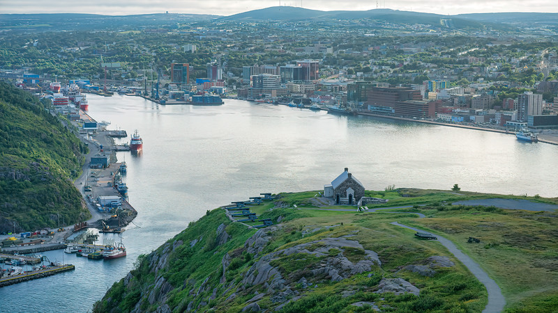View of the Harbor at sunset, Signal Hill, John Cabot Monument, St John's Newfoundland