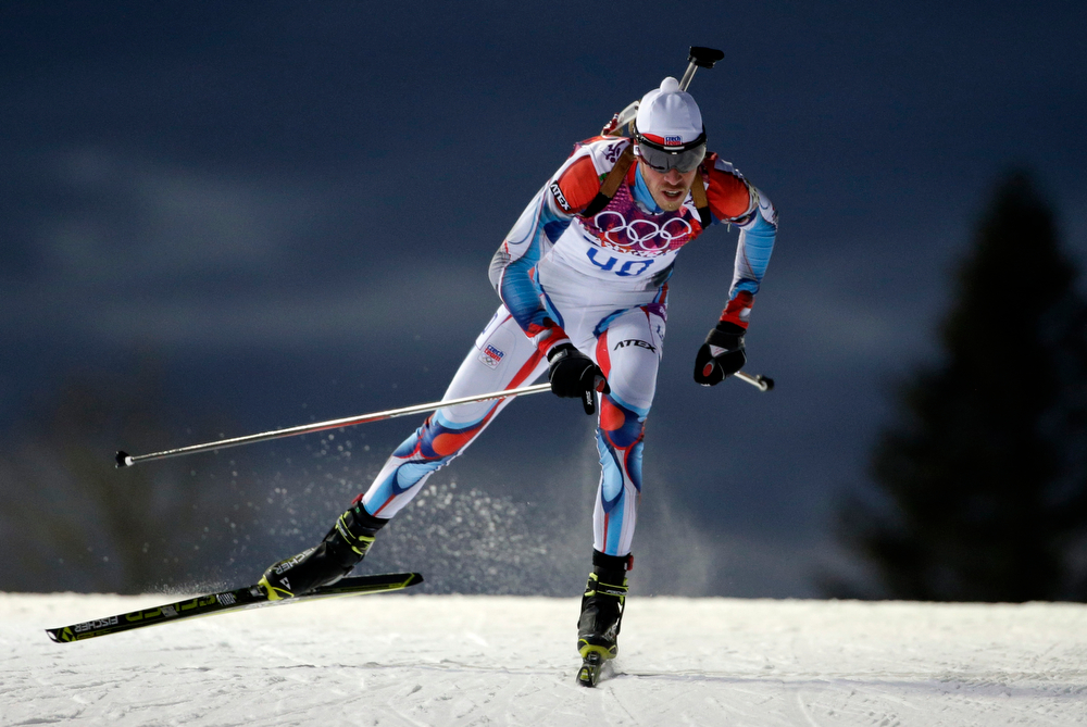 . Czech Republic\'s Jaroslav Soukup competes to win the bronze medal in the men\'s biathlon 10k sprint, at the 2014 Winter Olympics, Saturday, Feb. 8, 2014, in Krasnaya Polyana, Russia. (AP Photo/Felipe Dana)