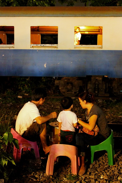 Munching next to an old train