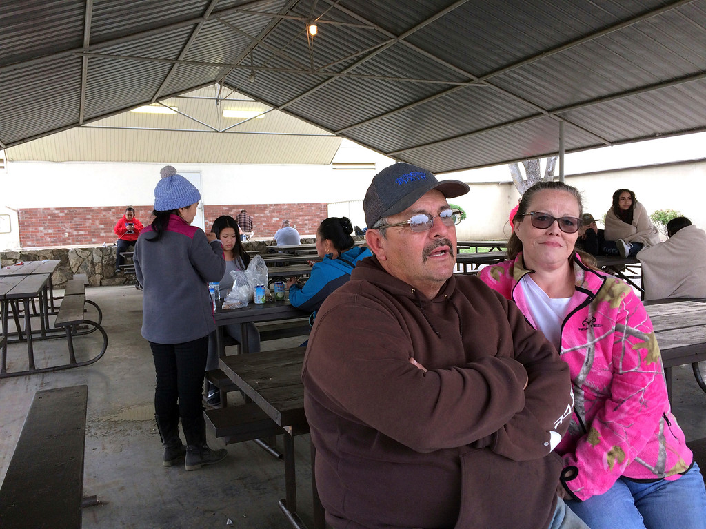 . Rod and Kelly Remocal wait with other evacuees at the Red Cross evacuation center in Chico, Calif., Monday, Feb. 13, 2017. The water level has dropped behind the Oroville Dam in Oroville, Calif., reducing the risk of a catastrophic spillway collapse and easing fears that prompted the evacuation of the Remocals and others downstream. (AP Photo/Don Thompson)