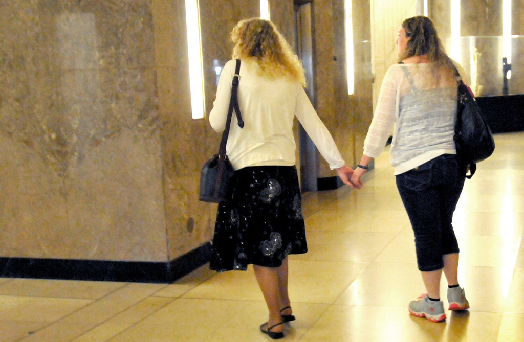 . Jennnifer Hutchings, left, mother of Anna Hurd, and Penny Griffin, Anna\'s aunt, leave the Ramsey County Courthouse on Tuesday after Anna\'s killer, 17-year-old Anthony Joseph Mitchell Jr., was sentenced to 22 years in prison. (Pioneer Press: John Doman)