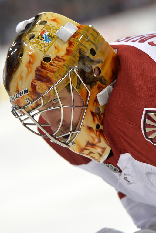 . Phoenix Coyotes goalie Thomas Greiss looks on against the Colorado Avalanche during the first period of an NHL hockey game on Friday, Feb. 28, 2014, in Denver. (AP Photo/Jack Dempsey)