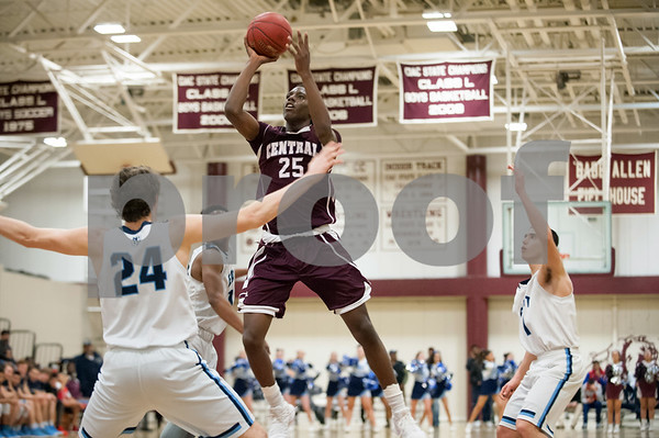 02/27/18 Wesley Bunnell | Staff Bristol Central boys basketball was defeated 74-40 by East Catholic at Bulkeley High School on Tuesday night during the CCC tournament. Jaekwon Spencer (25)