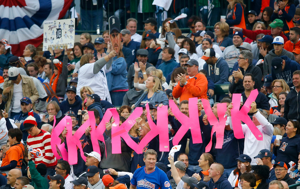 . Fans hold up K signs after Detroit Tigers\' Justin Verlander strikes out Boston Red Sox\'s Jarrod Saltalamacchia in the fifth inning during Game 3 of the American League baseball championship series Tuesday, Oct. 15, 2013, in Detroit. (AP Photo/Paul Sancya)