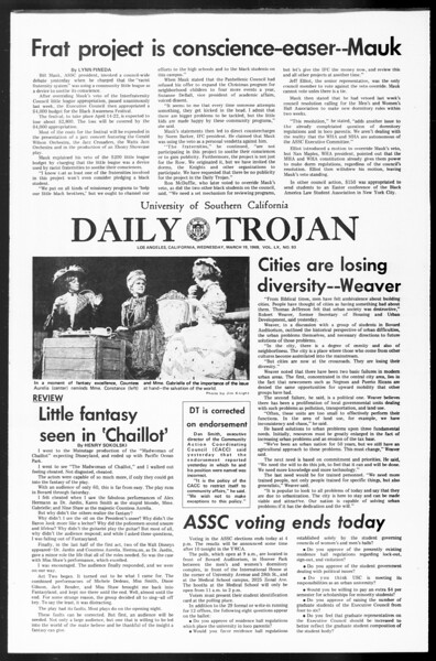 Daily Trojan, Vol. 60, No. 93, March 19, 1969