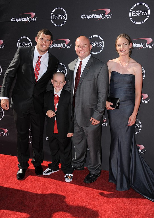 . Jack Hoffman, second from left, and his family arrive at the ESPY Awards on Wednesday, July 17, 2013, at Nokia Theater in Los Angeles. (Photo by Jordan Strauss/Invision/AP)