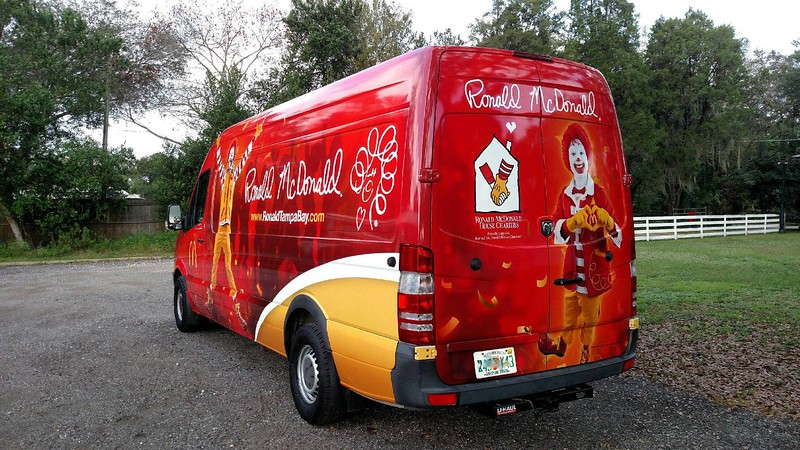 Dodge Conversion Van with custom designed vinyl wrap for Ronald McDonald, Tampa Bay FL