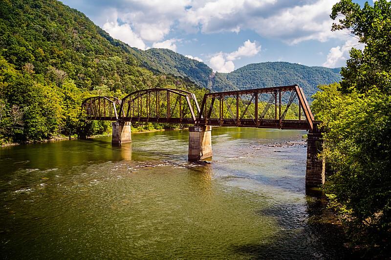 Train bridge across Glade Creek in West Virginia