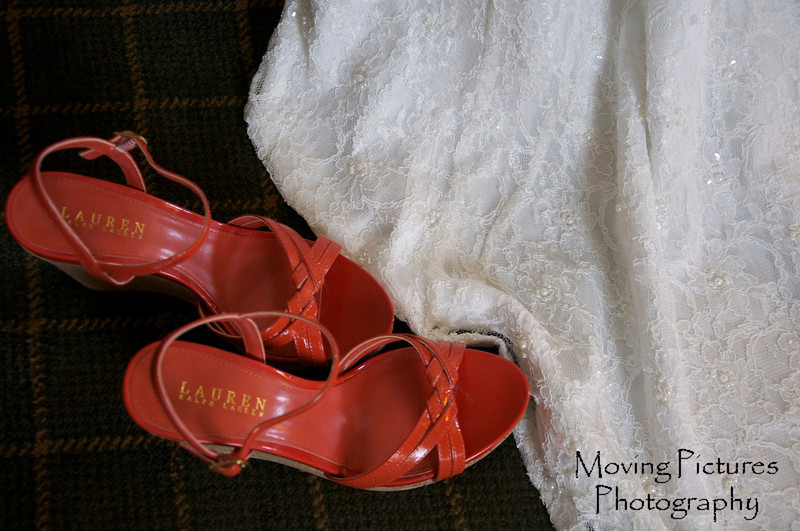 The shoes and gown await