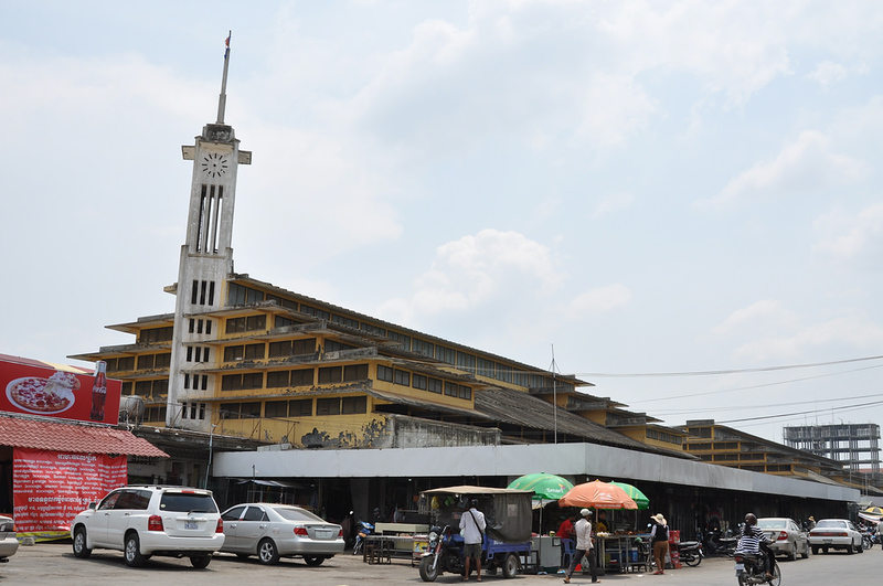 Typical French architecture of the Battambang Central Market