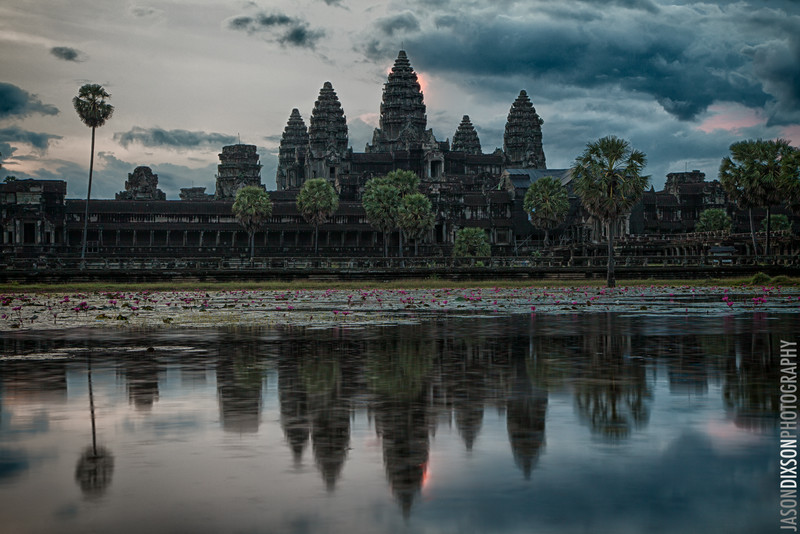 Angkor Wat at dawn from across its moat.