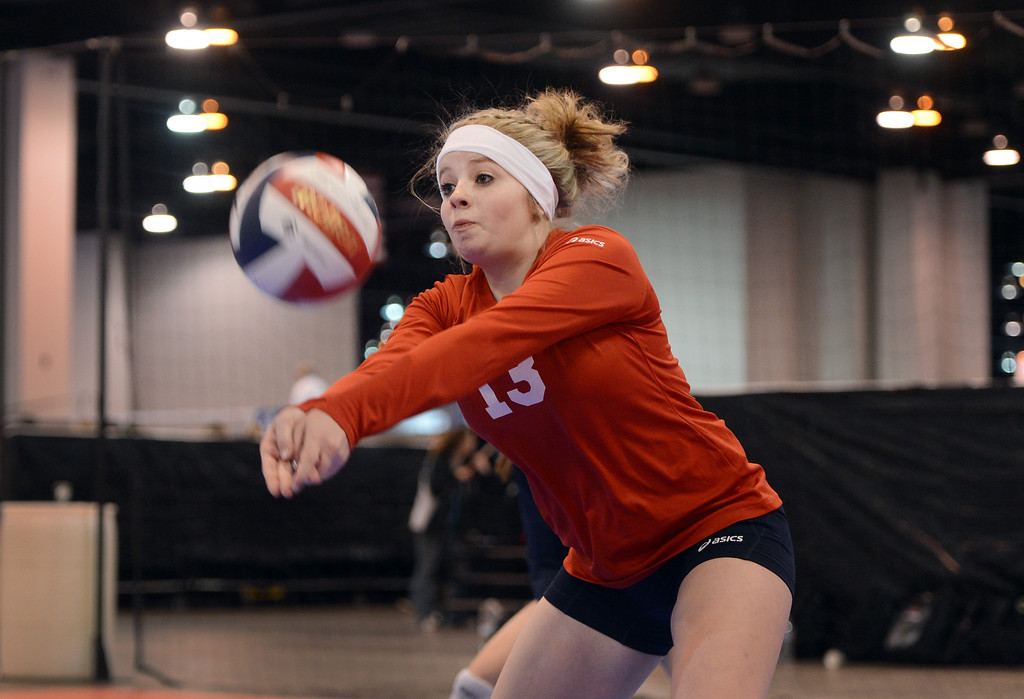 . DENVER, CO. - MARCH 02: Bayli Krasovic of Southern Colorado Precision, Of Pueblo, during their game against Performance Volleyball Academy, of Overland Park, KS during the  Colorado Crossroads National Qualifier volleyball tournament at the Colorado Convention Center in Denver, CO March 02, 2013. The event, held over two weekends,  is one of nine national tournaments that lead up to the USA Junior National Girls\' Volleyball Championships. Close to 700 teams will play on 89 courts through the weekend. (Photo By Craig F. Walker/The Denver Post)