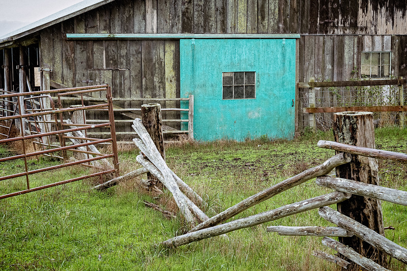 This weathered barn with its turquoise-colored sliding barn door and angled fencing immediately caught my attention while out exploring Lopez Island.