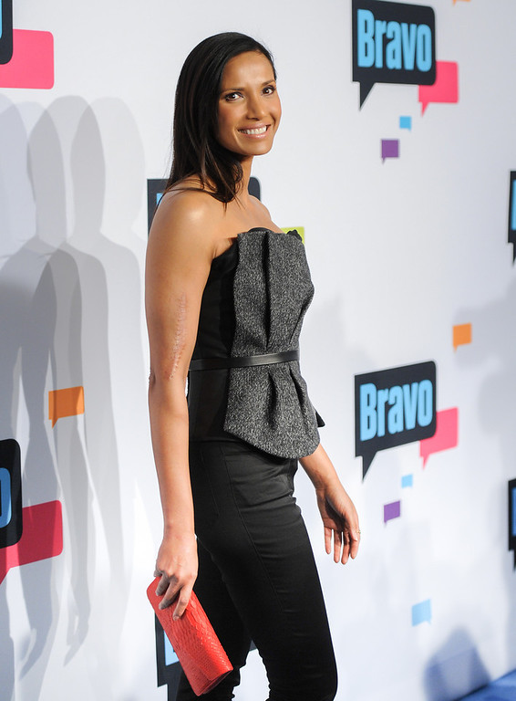 ". Padma Lakshmi from ""Top Chef\"" attends the Bravo Network 2013 Upfront on Wednesday April 3, 2013 in New York. (Photo by Evan Agostini/Invision/AP)"