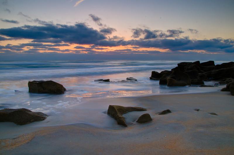 Sunrise on Coquina Rocks near Marineland, FL