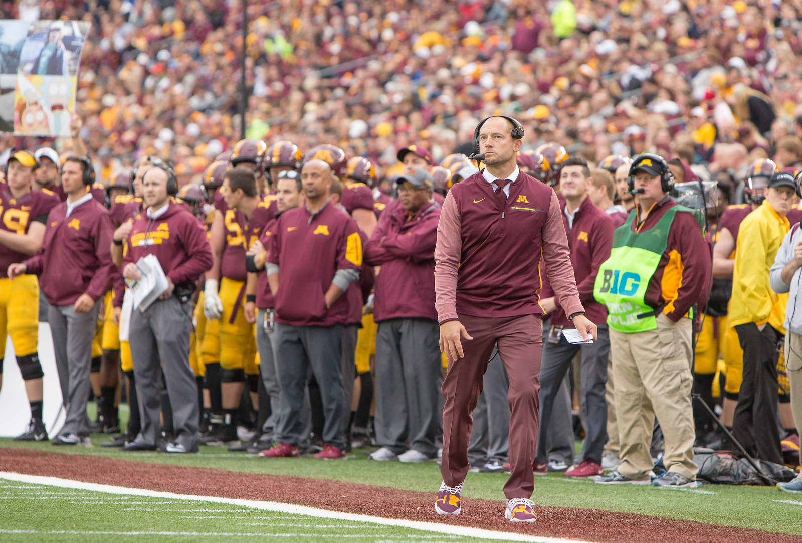 Minnesota Golden Gophers head coach P.J. Fleck at homecoming 2017 - Minnesota Gophers vs. Illinois Illini on October 21, 2017 at TCF Bank Stadium in Minneapolis, Minn. Photo credit: Matt Blewett/The Minnesota Sports Report