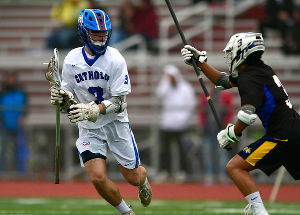 4/20/2019 Mike Orazzi | Staff St. Paul's Christen Decker (3) during Saturday's boys lacrosse with Bacon Academy at Bristol Central iHigh School n Bristol