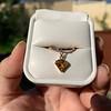 .84ct Fancy Deep Orange-Yellow Shield Shape Diamond Charm Ring 15