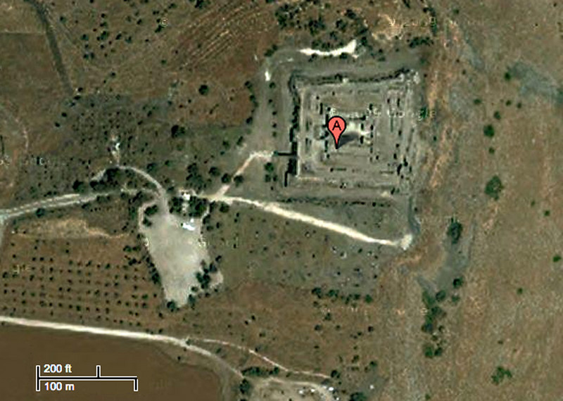 7-Belvoir air photo (north at top; entrance at SW corner). The fortress is a little over 100 meters (about the length of a football field) on each side. It withstood the attack of Muslim forces in 1180 and was a major obstacle to the Muslim goal of invading the Crusader Kingdom of Jerusalem from the east.