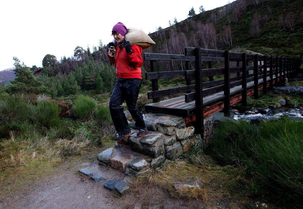 Description of . Reindeer herder Anna Jemmett from the Glenmore Reindeer Centre carries a 12 kg bag of grain feed over a bridge, a task carried out twice a day in winter, before feeding a herd of free ranging reindeer in the Cairngorm Mountains near Aviemore, Scotland December 28, 2012. The 150 strong Cairngorm Reindeer Herd is Britain's only herd of reindeer. REUTERS/David Moir