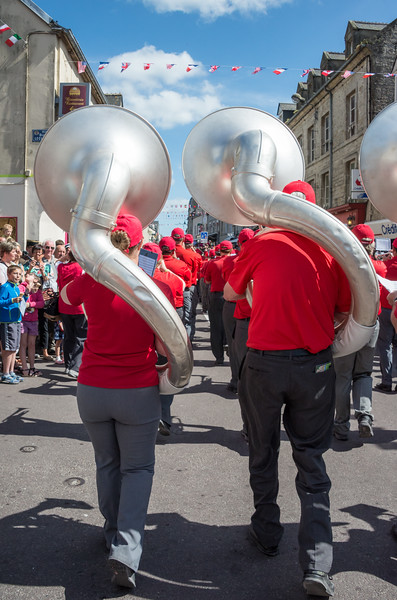 After watching the band pass City Hall I planned to run ahead and shoot from another location.  The crowd was so deep and street so narrow that I never could get around.
