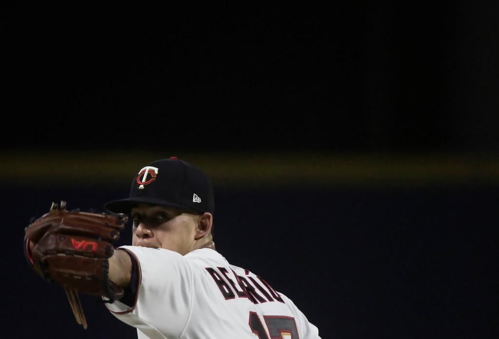 . Minnesota Twins starting pitcher Jose Berrios throws during the fourth inning of the final game at a two-game Mayor League Series against the Cleveland Indians at Hiram Bithorn Stadium in San Juan, Puerto Rico, Wednesday, April 18, 2018. (AP Photo/Carlos Giusti)