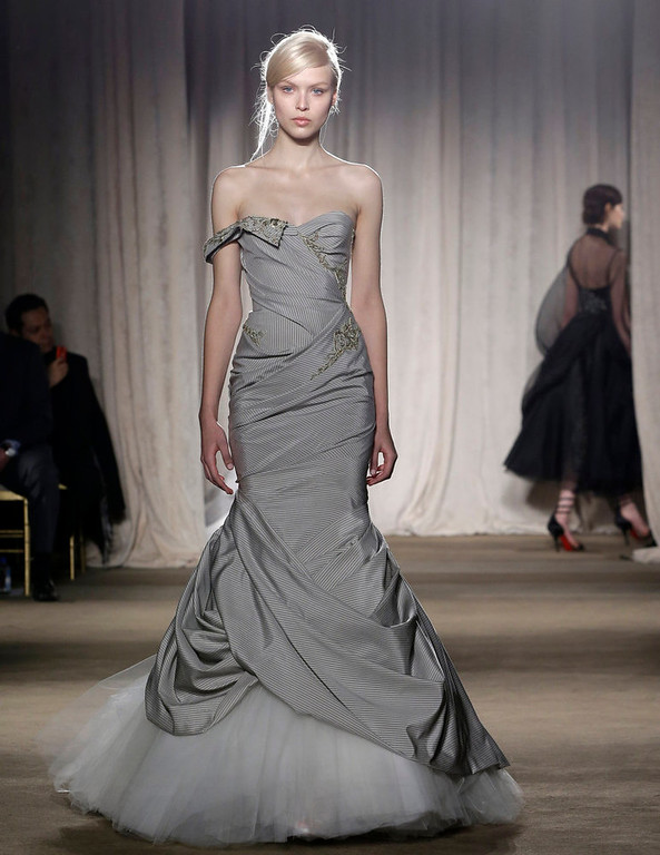 . A model walks the runway during the Marchesa Fall 2013 fashion show at Fashion Week in New York, Wednesday, Feb. 13, 2013.  (AP Photo/Kathy Willens)