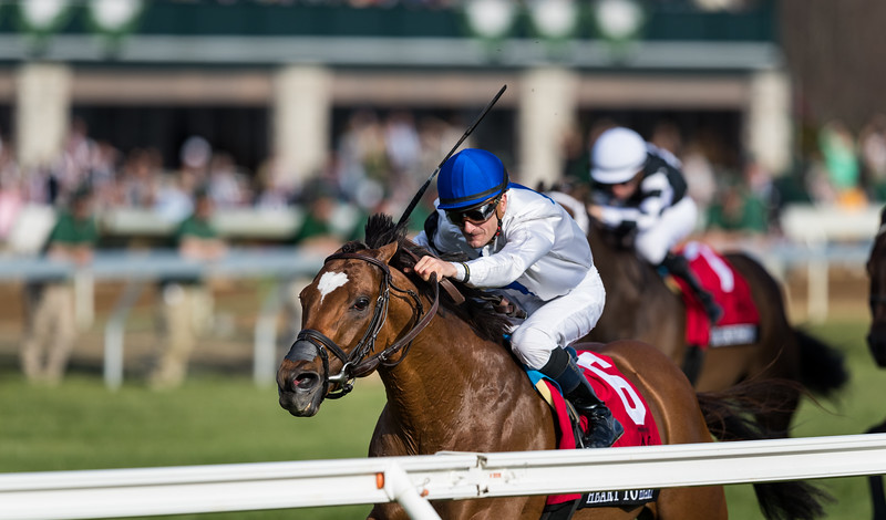 Heart to Heart (English Channel) wins the Maker's 46 Mile (G1) at Keeneland on 4.13.2018.  Julien Leparoux up, Brian Lynch trainer, Terry Hamilton owner.