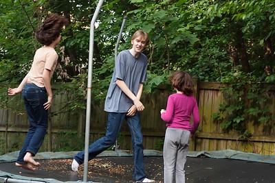 Daniel, Merrick, Alexandra and Elena on trampoline June 19, 2019