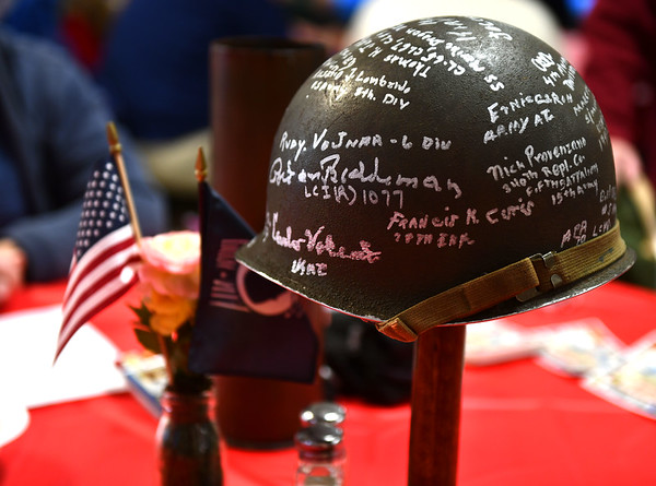 12/7/2019 Mike Orazzi | StaffrA signed helmet at the Bristol American Legion Seicheprey Post 2 on Saturday morning for the Pearl Harbor Day ceremony.