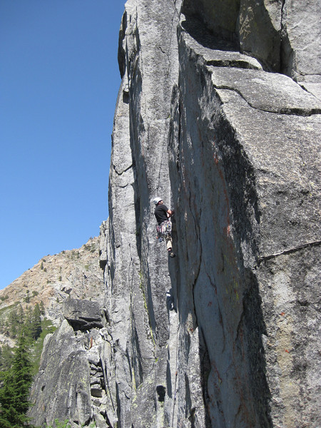 Mark coming to grips with how hard a 5.10a can be at Eagle Lake.