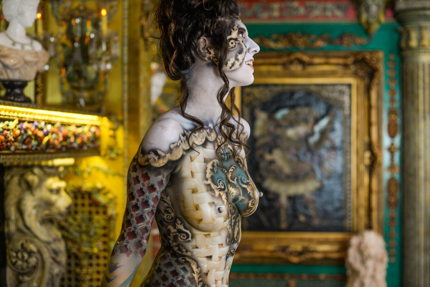 Roustan body painting on Shadia Elise at the home of Dominic LaFerla