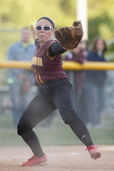 Sheehan's Becca Souza (13) turns to first to throw out Lyman Hall's Jean Azukas (35) Wednesday at Pragemann Park in Wallingford  May. 13, 2015 | Justin Weekes / For the Record-Journal