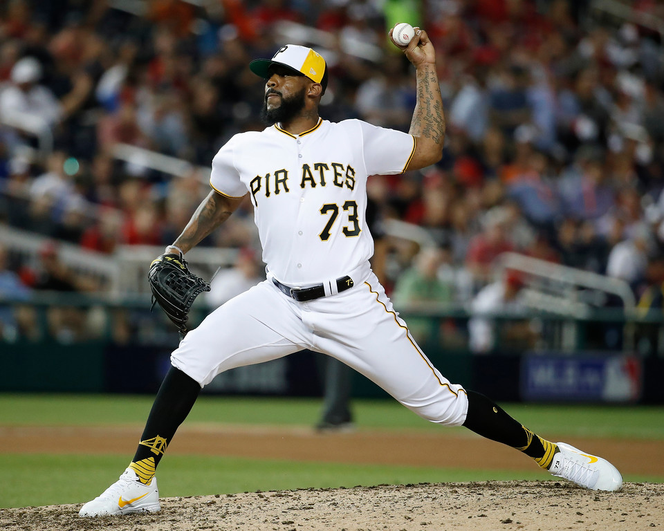 . Pittsburgh Pirates pitcher Felipe Vazquez (73) throws during the seventh inning at the Major League Baseball All-star Game, Tuesday, July 17, 2018 in Washington. (AP Photo/Alex Brandon)