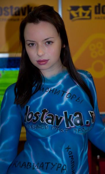 Girl in bodypaint at Igromir 2009