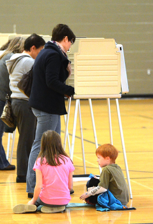 . Niki Halbach votes, as her daughter Danielle, 9, and son Drew, 7, looks on at precinct #4 in the Salter Community Center in Royal Oak.    Tuesday, November 4, 2014.  Tim Thompson-The Oakland Press