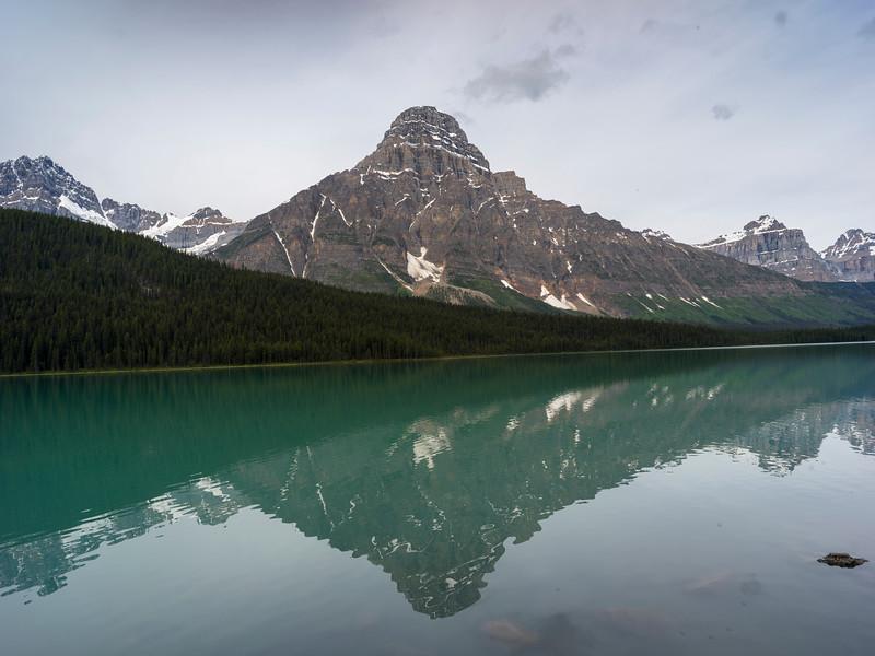 Reflection of Mt. Cephren in Waterfowl Lake, Icefields Parkway, Improvement District 9, Banff National Park, Jasper, Alberta, Canada