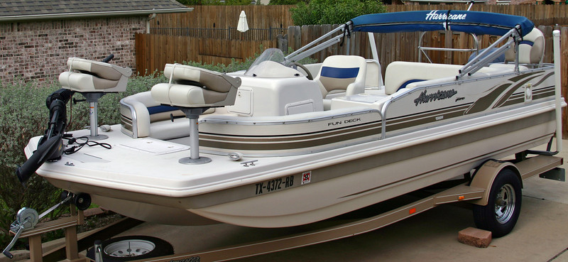Hurricane Deck Boat 198R with all seats installed and trolling motor attached.