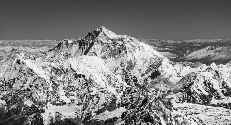 Aerial view of Mount Everest (Sagarmatha) from the Nepal side with the Tibetan Plateau